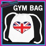 UNION JACK HEART FLAG HEART LOVE GYM DRAWSTRING WHITE GYMSAC BAG
